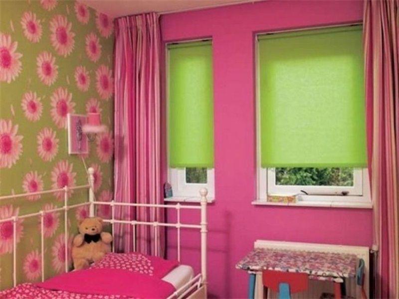 Рулонные шторы фото в интерьере детской